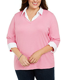 Karen Scott Plus Size Layered Cotton Top, Created For Macy's