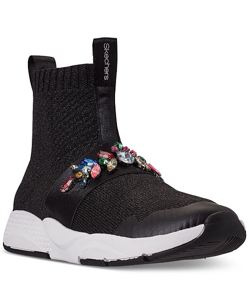 Skechers Big Girls Shine Status Street Charm High Top Casual Sneakers from Finish Line