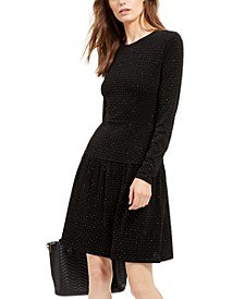 Tonal-Print Embellished Shirred Shirtdress, Regular & Petite Sizes