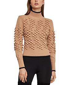 Popcorn-Stitch Mock-Neck Sweater
