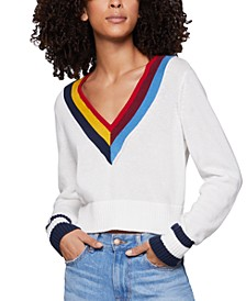 Cotton Cropped Chevron Sweater