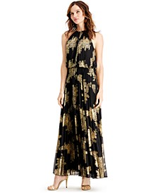 Metallic-Print Pleated Blouson Gown