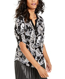 Petite Printed Pleated Top