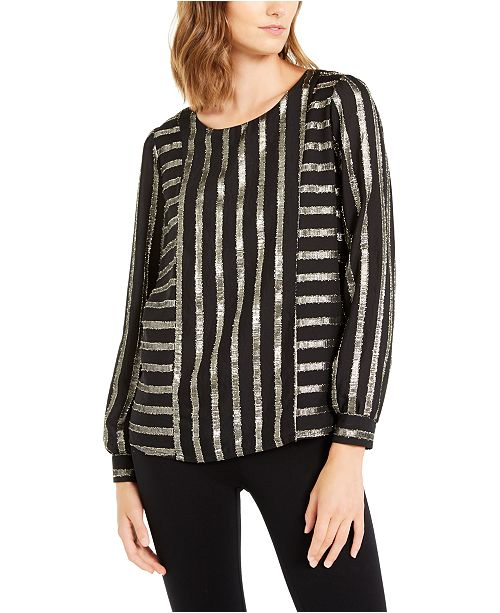 Alfani Metallic-Stripe Top, Created For Macy's
