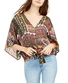 Juniors' Lurex Tie-Front Top