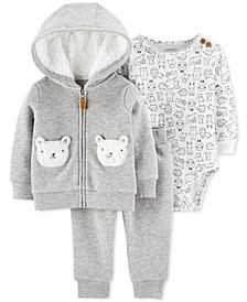 Baby Boys & Girls 3-Pc. Printed Bodysuit, Hoodie & Jogger Pants Set