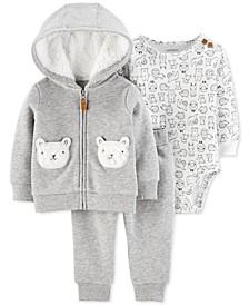 Baby Boys & Girls 3-Pc. Printed Bodysuit, Hoodie & Jogger Pants Set