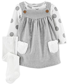 Baby Girls 3-Pc. Dot-Print Bodysuit, Jumper & Tights Set