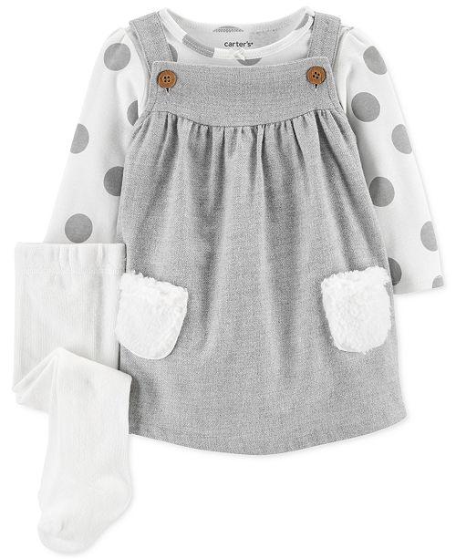 Carter's Baby Girls 3-Pc. Dot-Print Bodysuit, Jumper & Tights Set