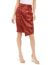 INC Draped Animal-Print Skirt, Created For Macy's