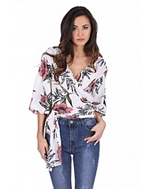 Women's Floral Wrap Top