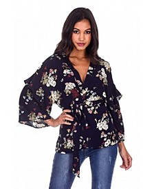 Women's Floral Print Wrap Top