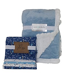 Amor Bebe Etched Cloud Galaxy Baby Blankets Gift Set