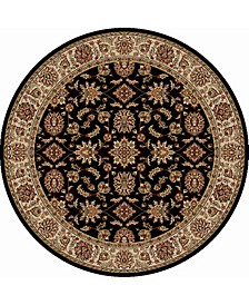 "CLOSEOUT! 1592/1015/BLACK Pesaro Black 5'3"" x 5'3"" Round Area Rug"