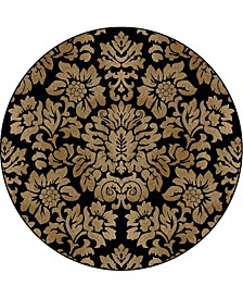 "CLOSEOUT! 1747/1316/BLACK Pesaro Black 5'3"" x 5'3"" Round Area Rug"