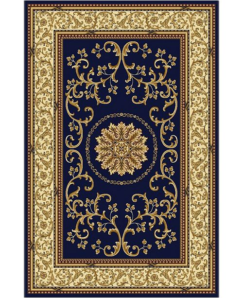 """KM Home CLOSEOUT! 1419/1340/NAVY Navelli Blue 3'3"""" x 5'4"""" Area Rug"""