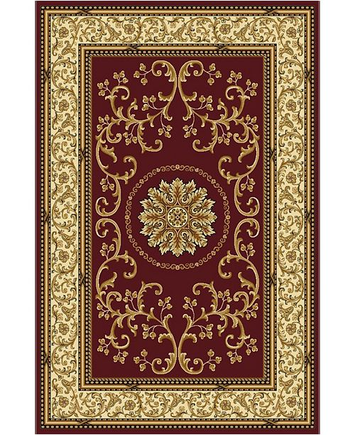 """KM Home CLOSEOUT! 1419/1332/BURGUNDY Navelli Red 7'9"""" x 9'6"""" Area Rug"""