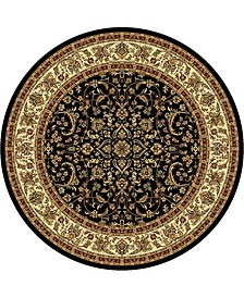 "CLOSEOUT! 1318/1527/BLACK Navelli Black 7'10"" x 7'10"" Round Area Rug"