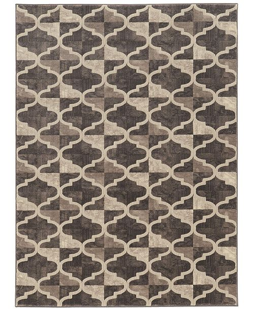 """KM Home CLOSEOUT! 3793/1011/BROWN Imperia Brown 5'3"""" x 7'3"""" Area Rug"""