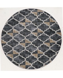 "CLOSEOUT! 3793/1025/Gray Imperia Gray 7'10"" x 7'10"" Round Area Rug"