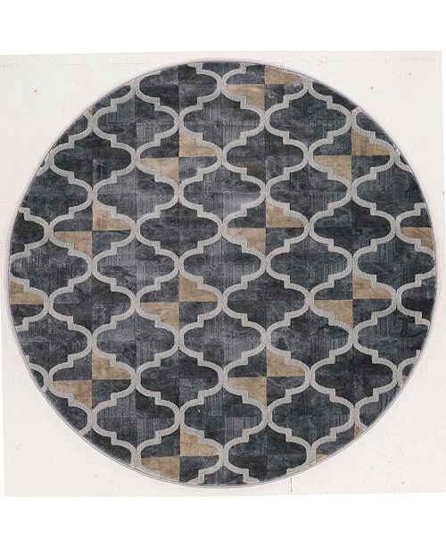 "KM Home CLOSEOUT! 3793/1025/Gray Imperia Gray 7'10"" x 7'10"" Round Area Rug"
