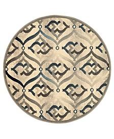 """CLOSEOUT! 3796/1004/BONE Imperia Ivory/ Cream 5'3"""" x 5'3"""" Round Area Rug"""