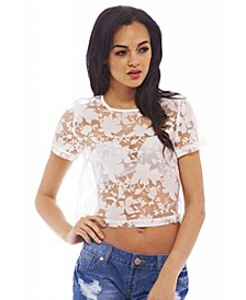 Women's Sheer Lace Cropped Top