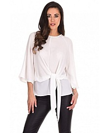 Women's Tie Waist Fla Sleeve Top