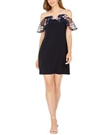 MSK Embroidered Off-The-Shoulder Dress