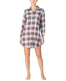 Cotton Brushed-Twill Plaid Sleepshirt