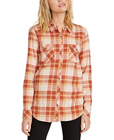 Juniors' Getting Rad Plaid Cotton Button-Up Shirt