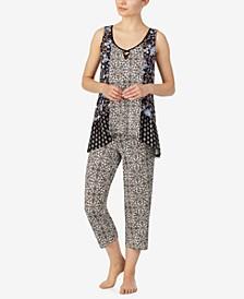Boho Floral Print Tank Pajama Set, Online Only