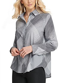 Foundation Printed Button-Front Blouse