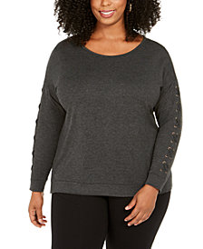 Belldini Plus Size Grommet Lace-Up Top