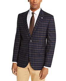 Men's Modern-Fit Active Stretch Navy Blue/Brown Plaid Sport Coat
