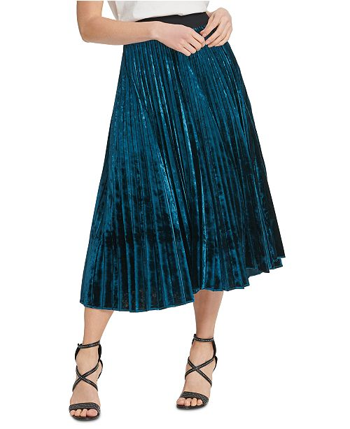 DKNY Pleated Velvet Pull-On Skirt