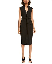 Crave Fame Juniors' Zip-Front Belted Bodycon Dress