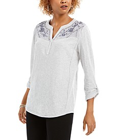 Embroidered-Yoke Roll-Tab Sleeve Top, Created for Macy's