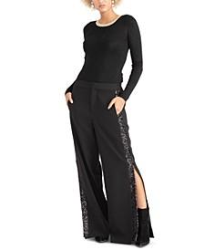 Sequin-Embellished Wide-Leg Pants