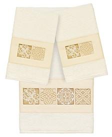 100% Turkish Cotton Vivian 3-Pc. Embellished Bath and Hand Towel Set