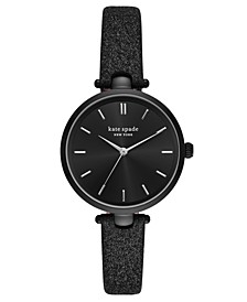 Women's Holland Black Glitter Leather Strap Watch 34mm