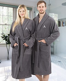 Linum Home 100% Turkish Cotton Personalized Terry Bath Robe - Gray