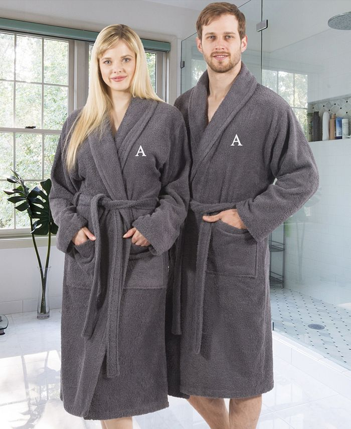 Linum Home - 100% Turkish Cotton Personalized Terry Bath Robe - Gray