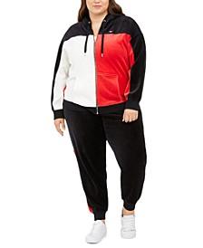 Plus Size Active Colorblocked Velour Zip-Up Hoodie