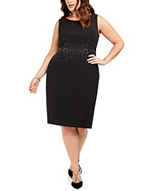 Plus Size Jeweled Stud Sheath Dress