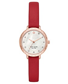 Women's Morningside Midi Red Leather Strap Watch 28mm