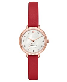 Kate Spade New York Women's Morningside Midi Red Leather Strap Watch 28mm