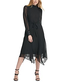 Mock-Neck Sheer-Sleeve Handkerchief Hem Dress