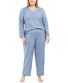 Plus Size Henley Top & Printed Pants Pajamas Set, Created For Macy's
