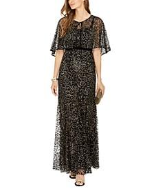 Glitter-Velvet Gown & Capelet